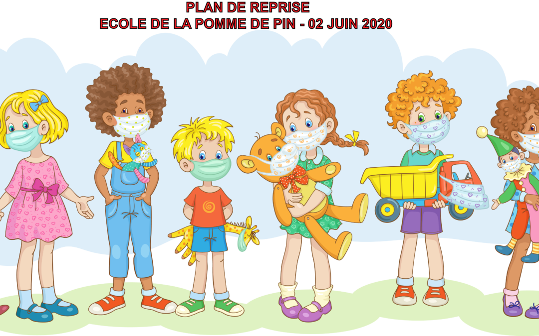 Illustration reprise école du 2 juin - Enfants masques